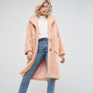 ASOS LUXE Teddy coat in Blush Pink